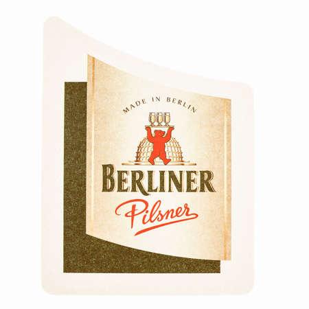 Berlin germany march 15 2015 beermat of german beer berliner berlin germany march 15 2015 beermat of german beer berliner pilsner isolated reheart Gallery