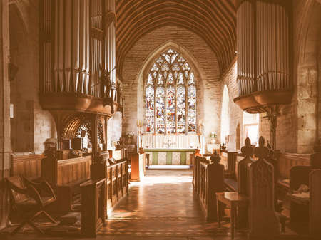 arden: TANWORTH IN ARDEN, UK - SEPTEMBER 25, 2015: Parish Church of St Mary Magdalene interior view vintage Editorial