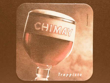 belgie: BRUSSELS, BELGIUM - DECEMBER 11, 2014: Beermat of Belgian trappiste beer Chimay vintage
