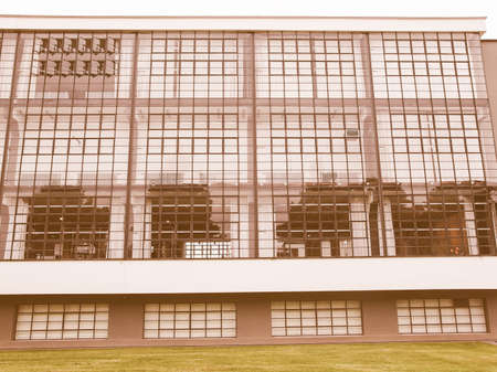 rationalist: DESSAU, GERMANY - JUNE 13, 2014: The Bauhaus art school iconic building designed by architect Walter Gropius in 1925 is a listed masterpiece of modern architecture vintage