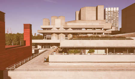 masterpiece: LONDON, UK - SEPTEMBER 28, 2015: The National Theatre designed by Sir Denys Lasdun is a masterpiece of new brutalist architecture vintage