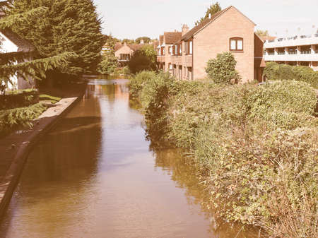 birthplace: STRATFORD UPON AVON, UK - SEPTEMBER 26, 2015: A canal in the city of Stratford birthplace of Shakespeare vintage Editorial