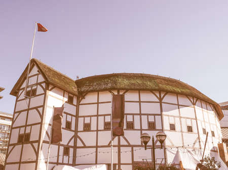LONDON, UK - SEPTEMBER 28, 2015: The Shakespeare Globe Theatre vintage Editorial