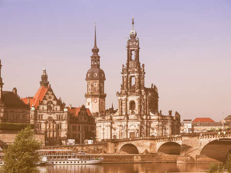 holy trinity: DRESDEN, GERMANY - JUNE 11, 2014: Dresden Cathedral of the Holy Trinity aka Hofkirche Kathedrale Sanctissimae Trinitatis vintage Editorial