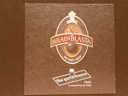 porterhouse: DUBLIN, IRELAND - DECEMBER 11, 2014: Beermat of Irish beer Porterhouse vintage