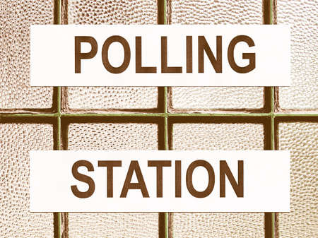 voters: Polling station place for voters to cast ballots in elections vintage