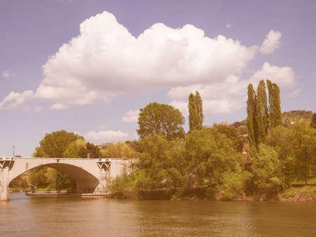po: Fiume Po (River Po) in Turin Italy vintage Stock Photo