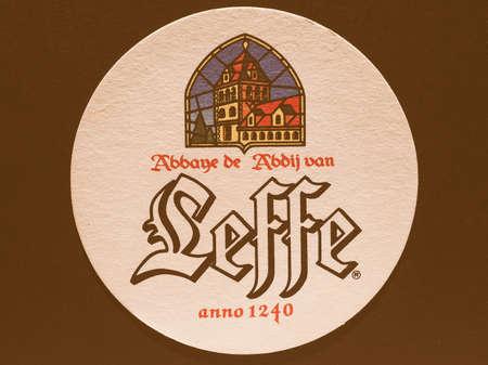belgie: BRUSSELS, BELGIUM - DECEMBER 11, 2014: Beermat of Belgian beer Leffe vintage