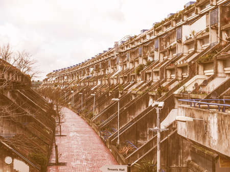 public housing: LONDON, ENGLAND, UK - MARCH 04, 2009: The Alexandra Road estate designed in 1968 by Neave Brown applies the terraced house model to high-density public housing is a masterpiece of new brutalist architecture vintage