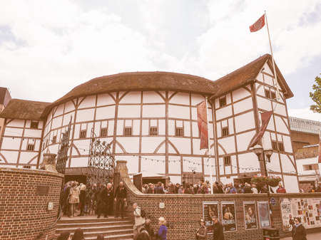 LONDON, UK - JUNE 10, 2015: The Shakespeare Globe Theatre vintage Editorial