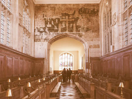 founded: STRATFORD UPON AVON, UK - SEPTEMBER 26, 2015: Guild Chapel founded in 1269 by the Guild of the Holy Cross vintage