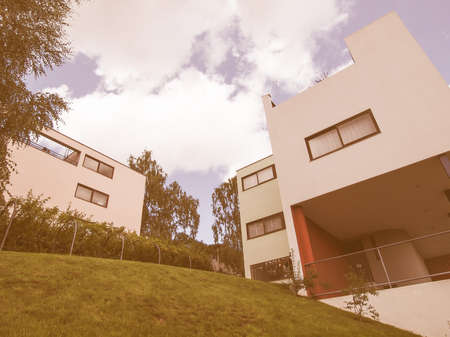 rationalist: STUTTGART, GERMANY - JULY 14, 2012: The Weissenhof Siedlung model houses were designed in 1927 for the modern architecture exhibition by major rationalist architects of the time under the masterplan of Mies Van Der Rohe vintage