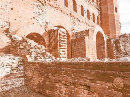 torri: Palatine towers Porte Palatine ruins of ancient roman town gates in Turin vintage