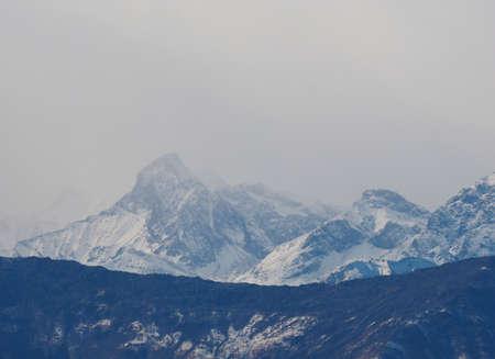 aosta: View of Italian Alps skyline in Aosta Valley, Italy