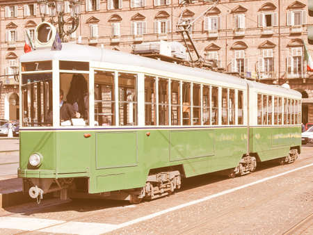 tramway: A vintage historical tramway in Turin, Italy vintage