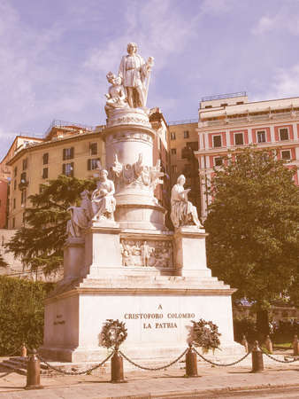 cristobal colon: Monument to Christopher Columbus in Genoa Italy vintage