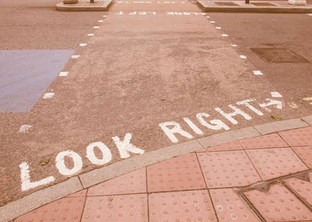 look right: Look Right sign in a London street vintage