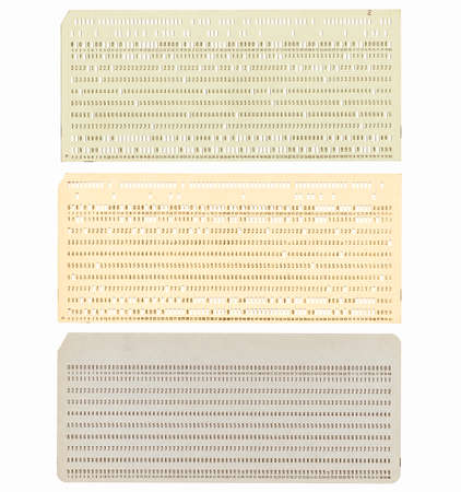 punched: Vintage punched card for computer data storage vintage Stock Photo