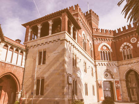 gothic revival: GENOA, ITALY - MARCH 16, 2014: Castello d Albertis gothic revival castle in Genoa Italy vintage Editorial
