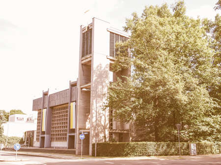 st german: LEIPZIG, GERMANY - JUNE 12, 2014: The Propsteikirche St Trinitas meaning Church of St Trinity parish church designed in 1968 by the school of architecture of the GDR is a masterpiece of modern architecture vintage