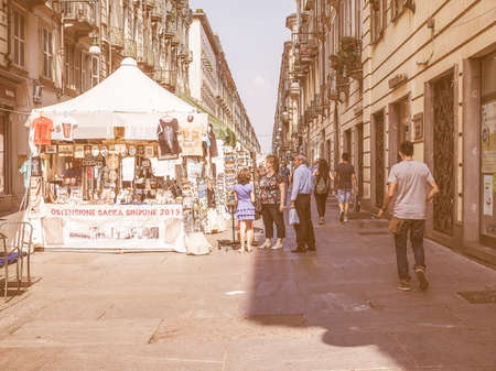 shroud: TURIN, ITALY - JUNE 19, 2015: People visiting the city centre during the Holy Shroud exhibition vintage