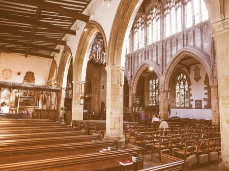 holy trinity: STRATFORD UPON AVON, UK - SEPTEMBER 26, 2015: Holy Trinity church interior vintage