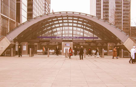 thousands: LONDON, ENGLAND, UK - MARCH 6: The Canary Wharf tube station used daily by thousands of workers and tourists to reach the new business district on March 6, 2008 in London, England, UK vintage