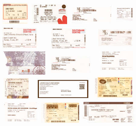 ticketing: LONDON, UK - JANUARY 30, 2014: Illustrative editiorial set of vintage concert tickets including Pink Floyd, Leonard Cohen, Einstuerzende Neubauten, Depeche Mode, Ivano Fossati, John Cale, Birtwistle, Maxwell Davies, Sakamoto, The Cure, Battiato and many o Editorial