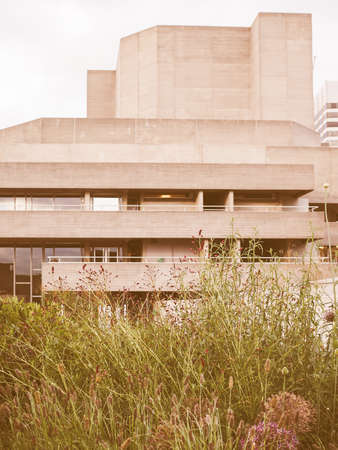 sir: LONDON, UK - JUNE 09, 2015: The National Theatre designed by Sir Denys Lasdun is a masterpiece of new brutalist architecture vintage