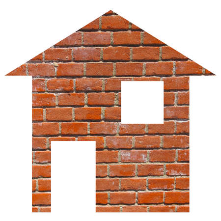 moving site: Red bricks house 2d model illustration isolated over white Stock Photo