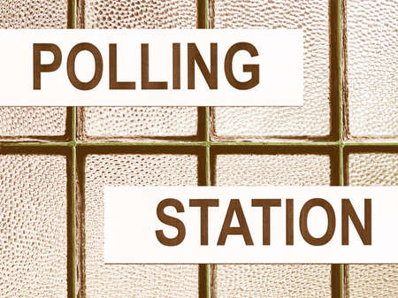 polling: Polling station place for voters to cast ballots in elections vintage
