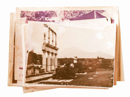 old photographs: Pile of old photographs isolated over white vintage
