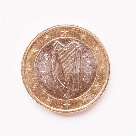 1 euro: Currency of Europe 1 Euro coin from Ireland vintage Stock Photo