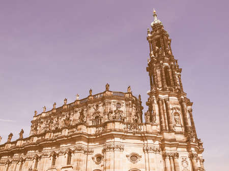 dresden: Dresden Cathedral of the Holy Trinity aka Hofkirche Kathedrale Sanctissimae Trinitatis in Dresden Germany vintage Stock Photo