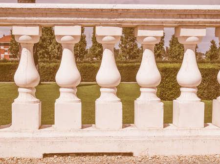 shafts: Ancient baroque balustrade made of baluster shafts vintage Stock Photo