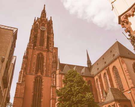 dom: Frankfurter Dom Cathedral in Roemerberg Frankfurt am Main Germany vintage
