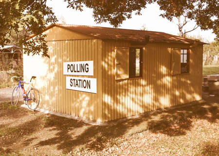 prefab: Polling station place for voters to cast ballots in elections vintage