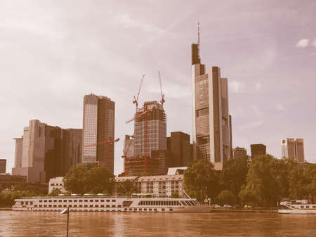 river main: View of the city of Frankfurt am Main from the River Main vintage
