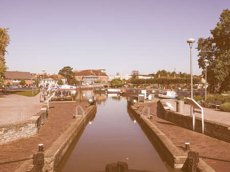 canal lock: Canal lock gate in Stratford upon Avon, UK vintage Editorial