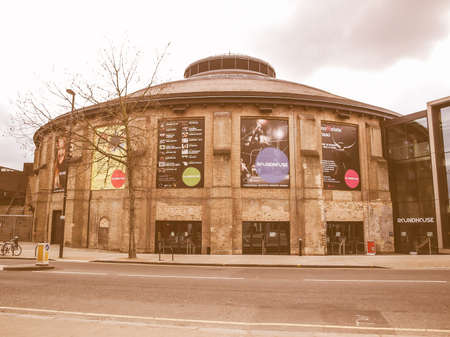 floyd: LONDON, ENGLAND, UK - MARCH 05, 2009: The Roundhouse is a Grade II listed former railway engine shed in Chalk Farm converted to an entertainment venue since 1964, where the Pink Floyd and Soft Machines played their first concerts vintage