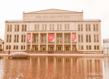 oper: LEIPZIG, GERMANY - JUNE 14, 2014: The new Opera House built in 1956 is the main music venue in Leipzig vintage