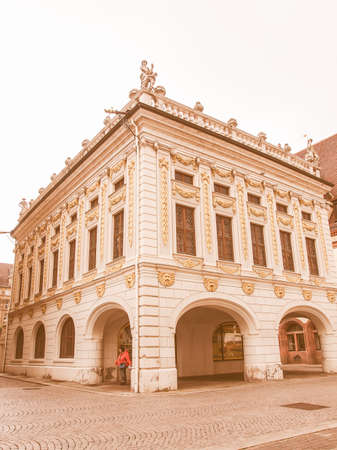 alte: LEIPZIG, GERMANY - JUNE 14, 2014: The Alte Handelsboerse meaning Old Stock Exchange is one of the oldest baroque buildings in Leipzig Germany vintage