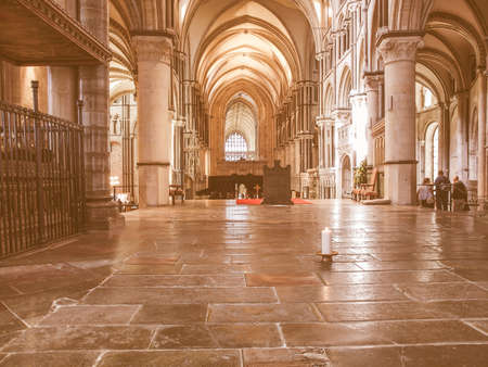 continuously: CANTERBURY, UK - SEPTEMBER 11, 2012: A candle burns continuously to mark the place where Saint Thomas Becket was murdered in Canterbury Cathedral in 1170 vintage Editorial