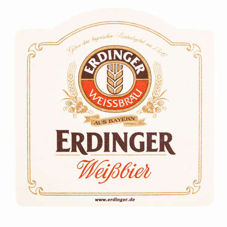 weiss: MUNICH, GERMANY - MARCH 15, 2015: Beermat of German weiss beer Erdinger isolated over white background vintage Editorial