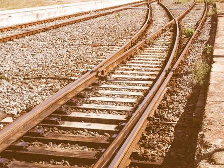 railtrack: Detail of railway railroad tracks for train vintage