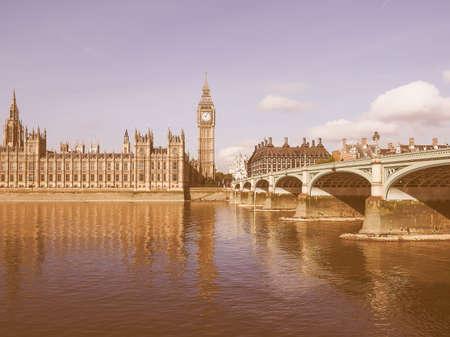 westminster bridge: Houses of Parliament aka Westminster Palace and Westminster Bridge over River Thames in London, UK vintage