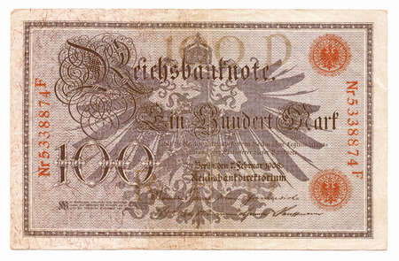 withdrawn: Vintage withdrawn 100 Mark banknote of the Deutsches Reich (German Empire), year 1908 vintage Stock Photo
