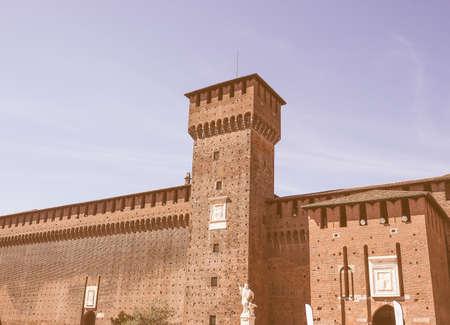 sforza: Castello Sforzesco meaning Sforza Castle in Milan Italy vintage