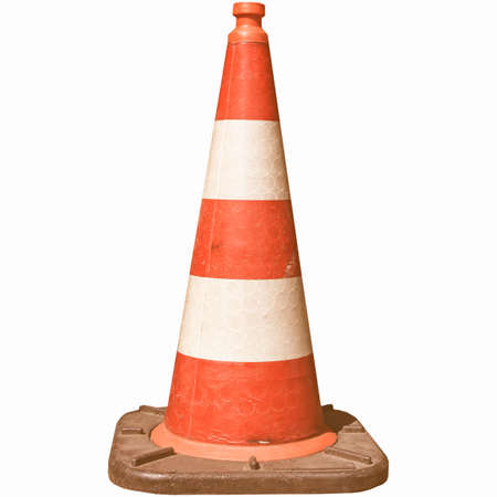 road works: Traffic cone for road works isolated over white vintage