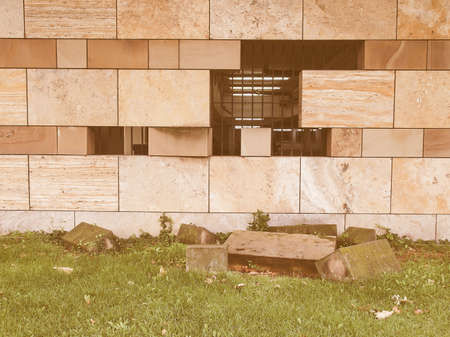 sir: STUTTGART, GERMANY - JULY 13, 2012: The Neue Staatsgalerie art gallery is a masterpiece of postmodern architecture designed by British architect Sir James Stirling in 1977 vintage